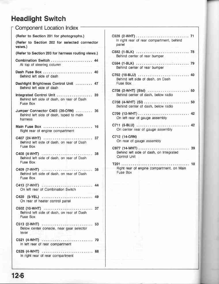 1990 crx electrical troubleshooting manual 12 6 headlight switch component location index