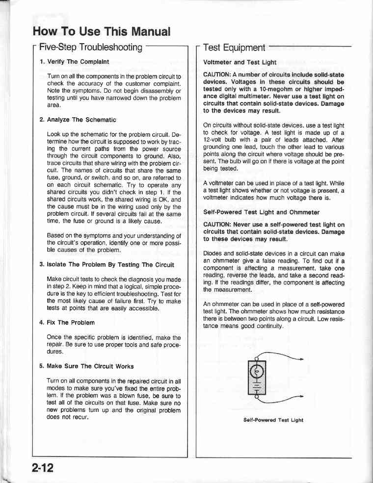 1990 Crx Electrical Troubleshooting Manual